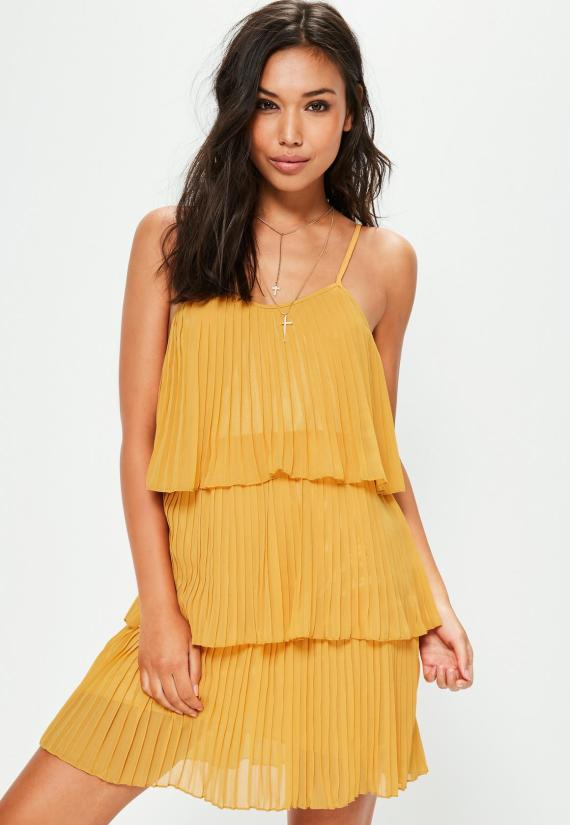 yellow-pleated-layered-swing-dress