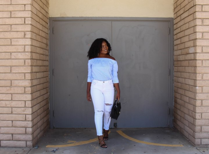 Off the Shoulder & White Denim
